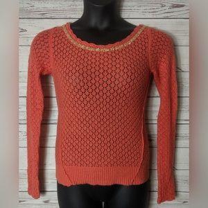 Free People XS Coral Orange Embellished Seeater